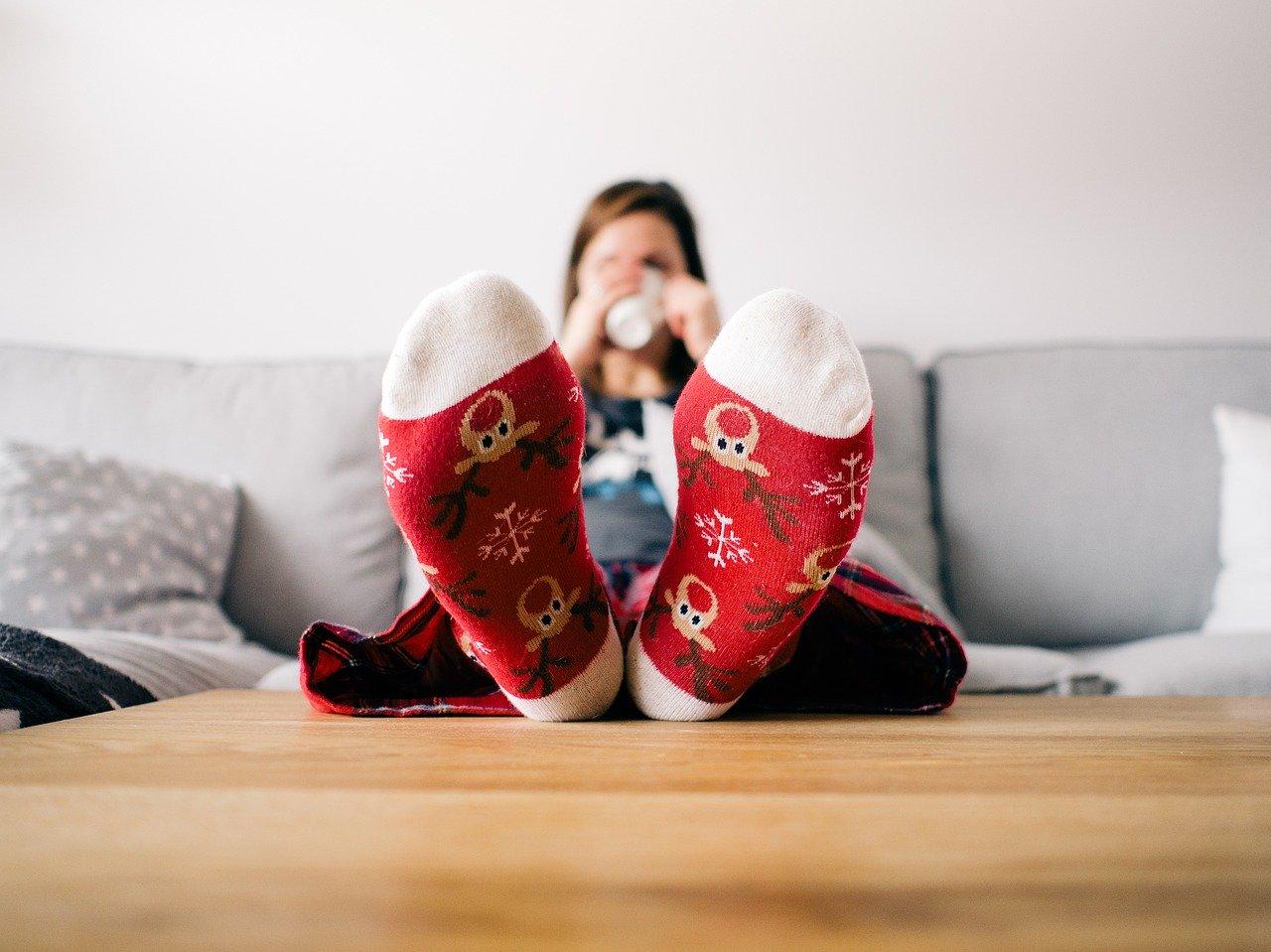 feet, socks, living room